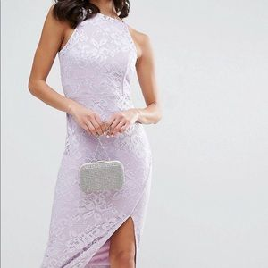 ASOS Lace High Neck Wrap Skirt Midi Dress
